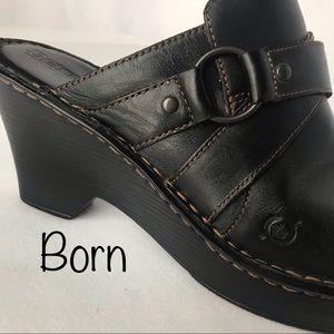 BORN black leather mule high clog - size 10